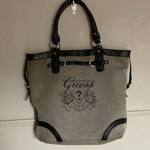 Guess Gray and Black Canvas Tote Bag Purse